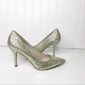 Nine West Flax Glitter Pointed Toe Heels Size 6.5M